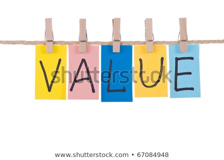 Stock photo: Value, Colorful words hang on rope by wooden peg