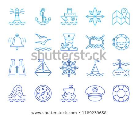 eenvoudige · mariene · zeilen · zee · iconen · vector - stockfoto © stoyanh