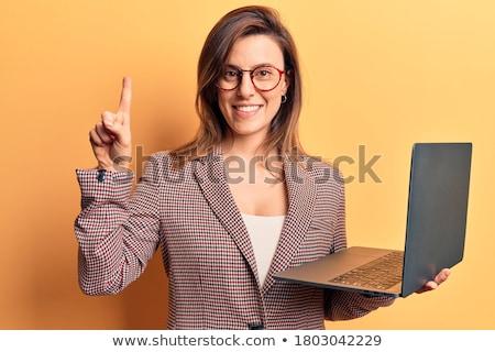 пальца вверх бизнесмен белый девушки лице Сток-фото © PeterP