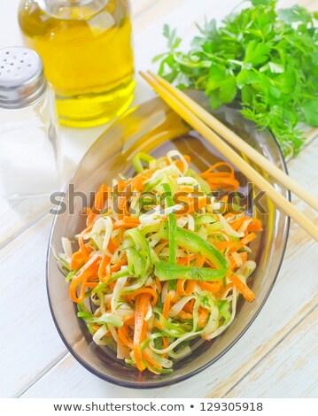 kool · wortel · salade · rustiek · houten · groene - stockfoto © elmiko