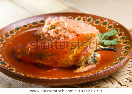 Chile · mexikói · töltött · tojás · tányér · villa - stock fotó © Mcklog