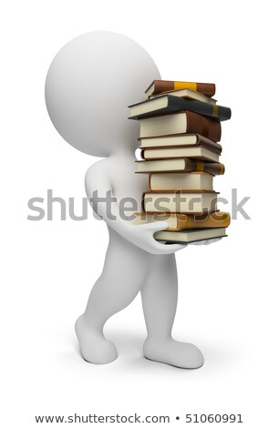 3d small people   carrying books stock photo © anatolym