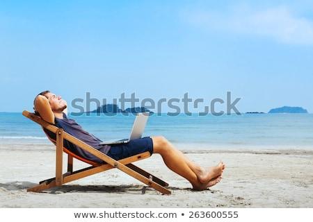 éxito · internet · hombre · portátil · equipo · blanco - foto stock © epstock