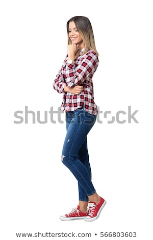 Portrait of a beautiful young woman wearing a denim shirt, hand  stock photo © HASLOO