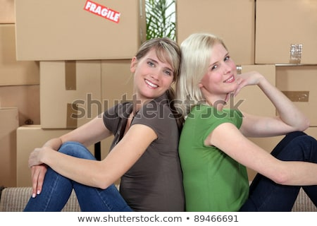 Fiatal lányok mozog együtt ül nők Stock fotó © photography33