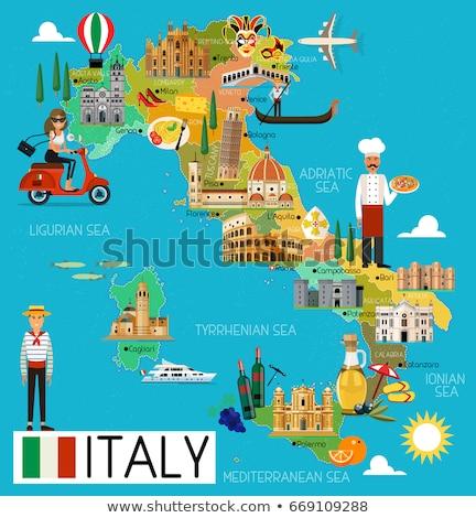 cartoon · Neapol · panoramę · sylwetka · nowoczesne - zdjęcia stock © blamb