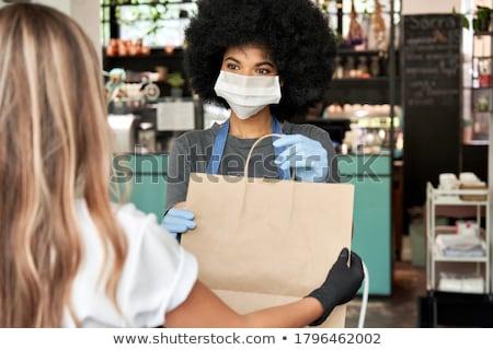 portret · twee · jonge · vrouwen · restaurant · jonge · mooie - stockfoto © photography33