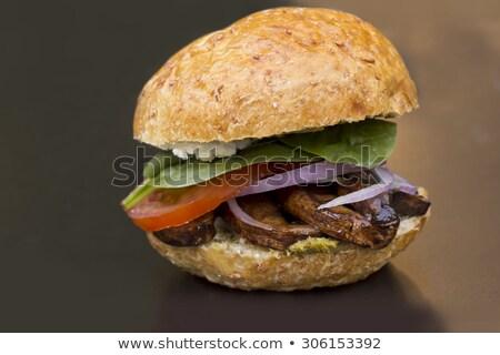 Mantar Burger taze ızgara organik kepekli Stok fotoğraf © fotogal