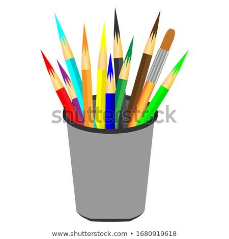Színesceruza kék csésze széles látószögű kilátás szín Stock fotó © smithore