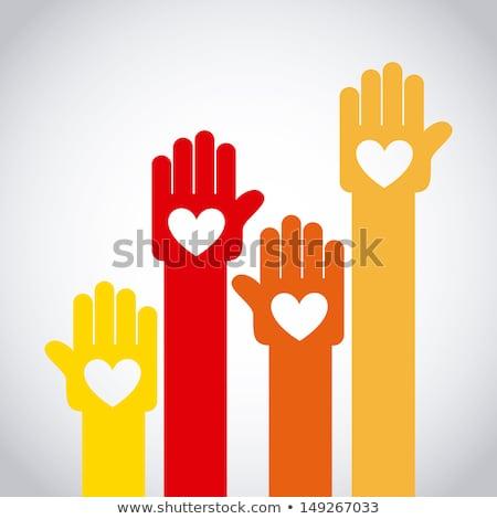 emberek · kéz · szív · háttér · támogatás · vektor - stock fotó © Hermione
