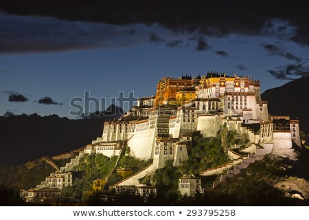 Foto stock: Noite · palácio · tibete · famoso · histórico · edifício