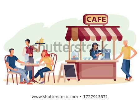 empregada · café · da · manhã · bandeja · feliz · quarto · de · hotel - foto stock © photography33