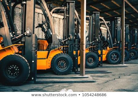 targonca · citromsárga · teher · teherautó · férfi · kék - stock fotó © johanh