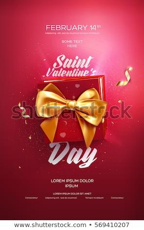 gift box with red satin ribbon bow stock photo © zhekos