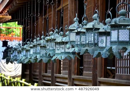 Foto stock: Pedra · lanternas · típico · japonês · natureza · Ásia