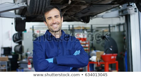 Foto stock: Feliz · mecánica · dos · sonriendo · espera