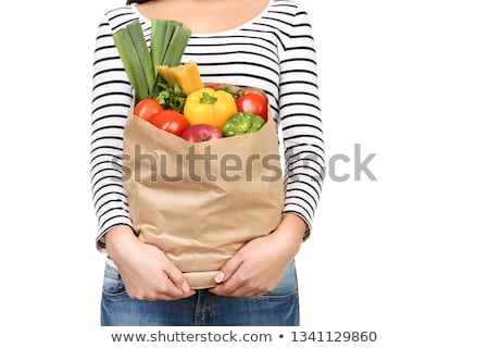 young woman holding spaghetti and tomato stock photo © rob_stark