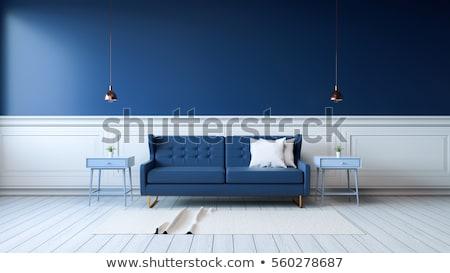 azul · interior · sofá · design · moderno · couro - foto stock © ciklamen