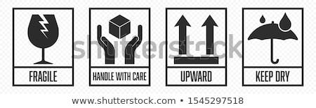 Frágil símbolo impresso marrom cartão objeto Foto stock © Stocksnapper