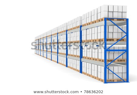 Сток-фото: Warehouse Shelves Side View Part Of A Blue Warehouse And Logistics Series