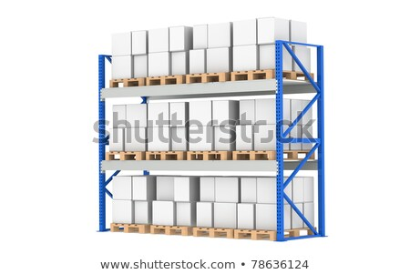 warehouse shelves pallet rack full isolated on white part of a blue warehouse and logistics seri stock photo © johanh