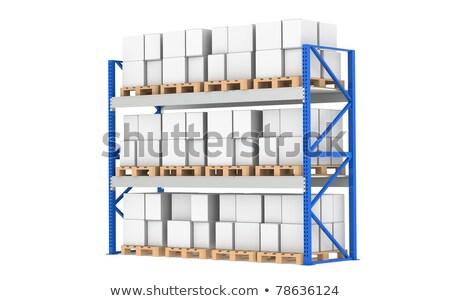Entrepôt tablettes rack plein isolé blanche Photo stock © JohanH