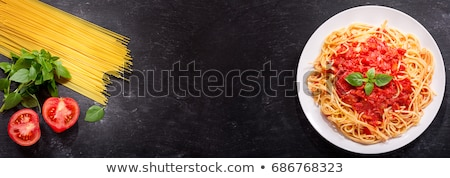 麵食 西紅柿 羅勒 煮 午餐 新鮮 商業照片 © M-studio