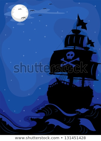 pirate ship with shadows in sails graphic vector illustration stock photo © chromaco