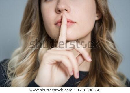 Jóvenes mujer de negocios silencio signo retrato Foto stock © feedough