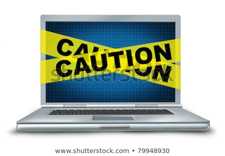 ordenador · portátil · amarillo · precaución · cinta · aislado · blanco - foto stock © pinkblue
