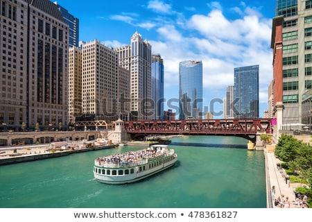 Stok fotoğraf: Chicago · nehir · şehir · merkezinde · ufuk · çizgisi · gökdelen · Cityscape