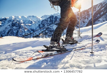 snow ski trail and sun stock photo © michey