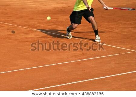 Tennis player shadow on a clay tennis court Stock photo © dutourdumonde