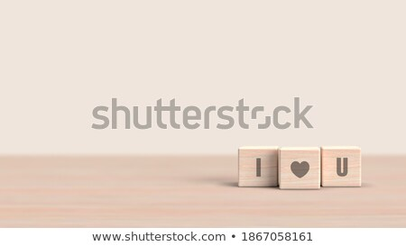 love with red heart in 3d wooden cubes Stock photo © marinini