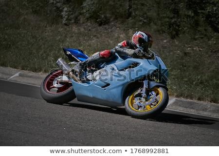 Foto stock: Motocicleta · puesta · de · sol · carretera · deporte · calle · fondo