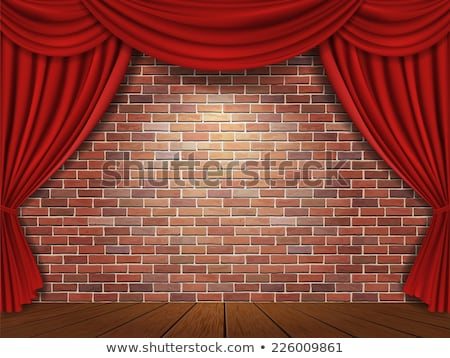 Red Curtains On A Brick Wall Stock photo © Lightsource