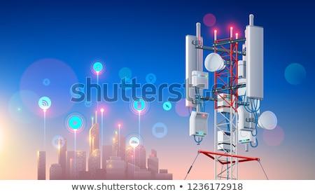 Anteny niebieski tekst biały laptop tle Zdjęcia stock © limbi007