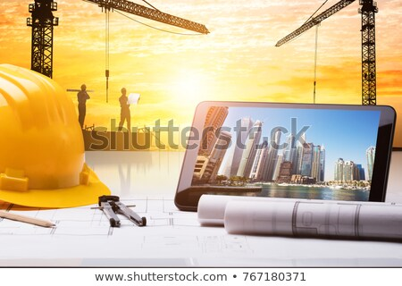 Construcción proyectos herramientas mesa de madera papel Foto stock © karandaev