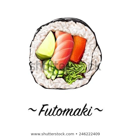 Ter sushi rulo meyve gıda meyve Stok fotoğraf © Elmiko