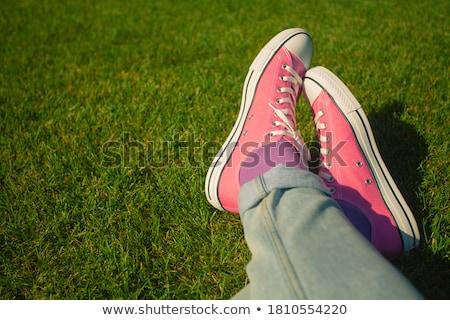 Vintage · кроссовки · трава · моде · оранжевый - Сток-фото © Massonforstock