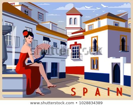 Spanyol flamenco lány képeslap nők szexi Stock fotó © carodi