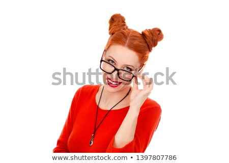 Business woman speaking through head phone Stock photo © get4net