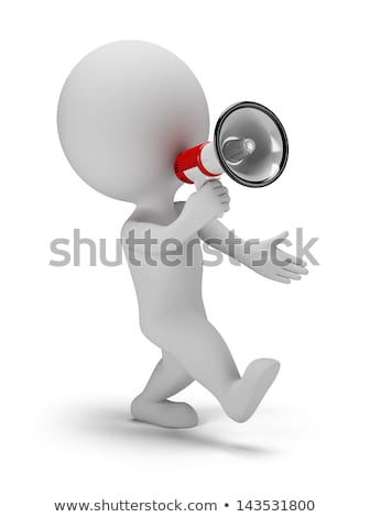 3d small people - call through a megaphone Stock photo © AnatolyM