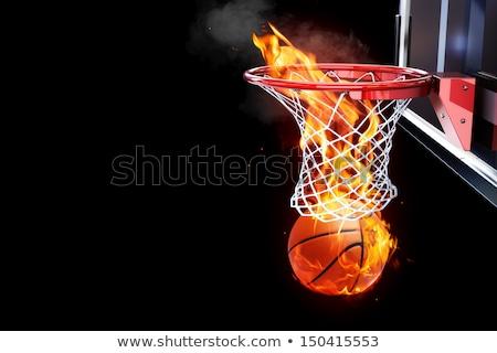 Vlammende basketbalveld abstract vector brand sport Stockfoto © burakowski
