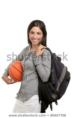 atraente · estudante · saco · basquetebol · bola · mulher - foto stock © lunamarina