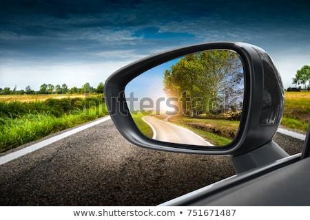 Foto stock: Espelho · cara · mulher · jovem · condução · isolado