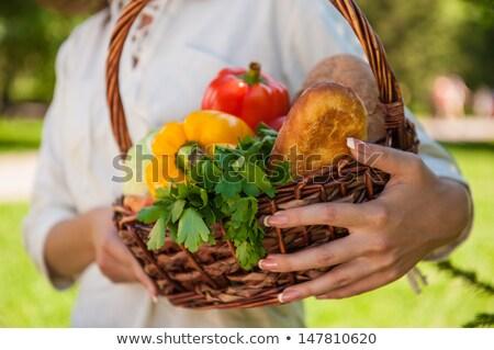 Onherkenbaar vrouw mand vol groenten Stockfoto © HASLOO