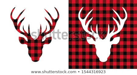 Stockfoto: Christmas Deer Heads Vector Set