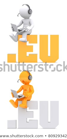 3d character sitting on eu domain sign stock photo © kirill_m