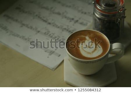 Granos de café musical puntuación edad primer plano vista Foto stock © kalozzolak